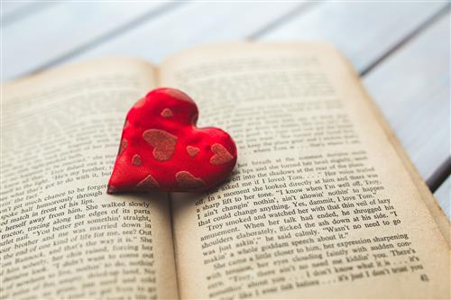 Open Book with Heart in Center