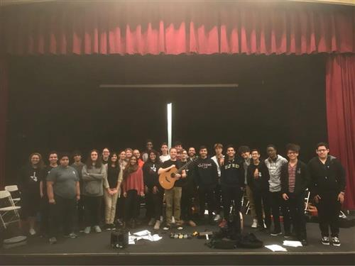 Trevor Gordon Hall gives workshop to BHS Guitar 2 & 3 classes.